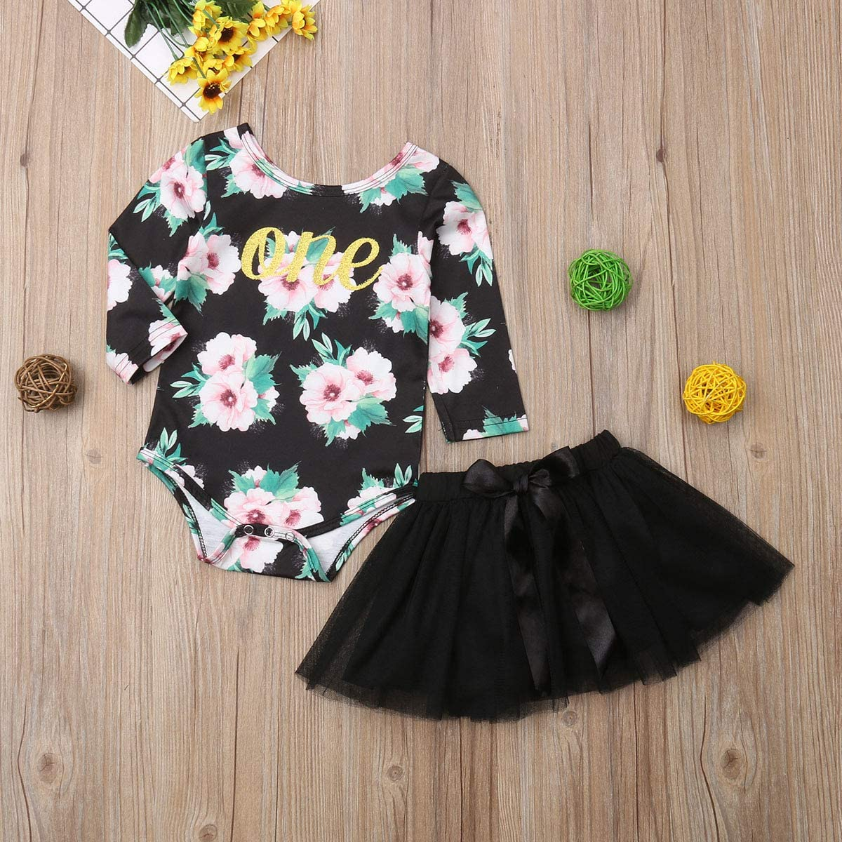 Baby Girl 1st Birthday Floral Long Sleeve Romper Tops Tutu Dress Outfit Clothes