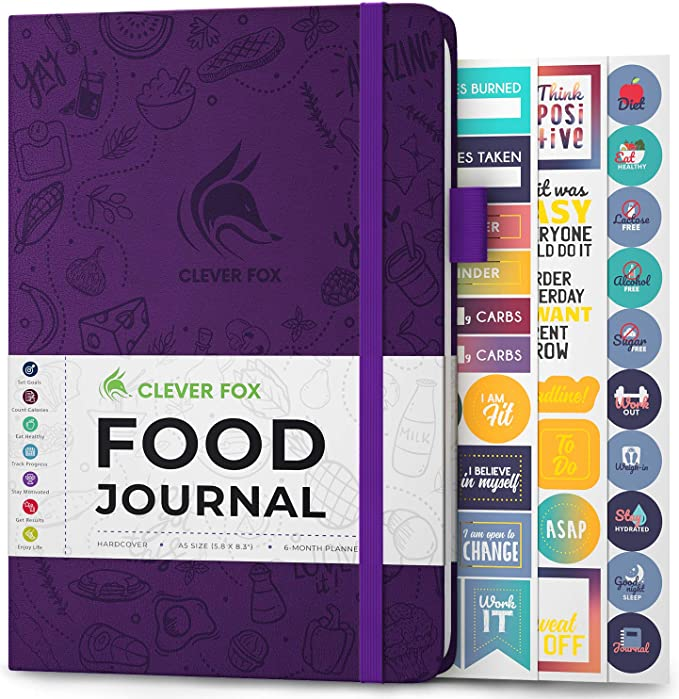 Clever Fox Food Journal - Daily Food Diary, Meal Planner to Track Calorie and Nutrient Intake, Stick to a Healthy Diet & Achieve Weight Loss Goals. Undated - Start Anytime. A5, Hardcover - Purple: Amazon.co.uk: Office Products