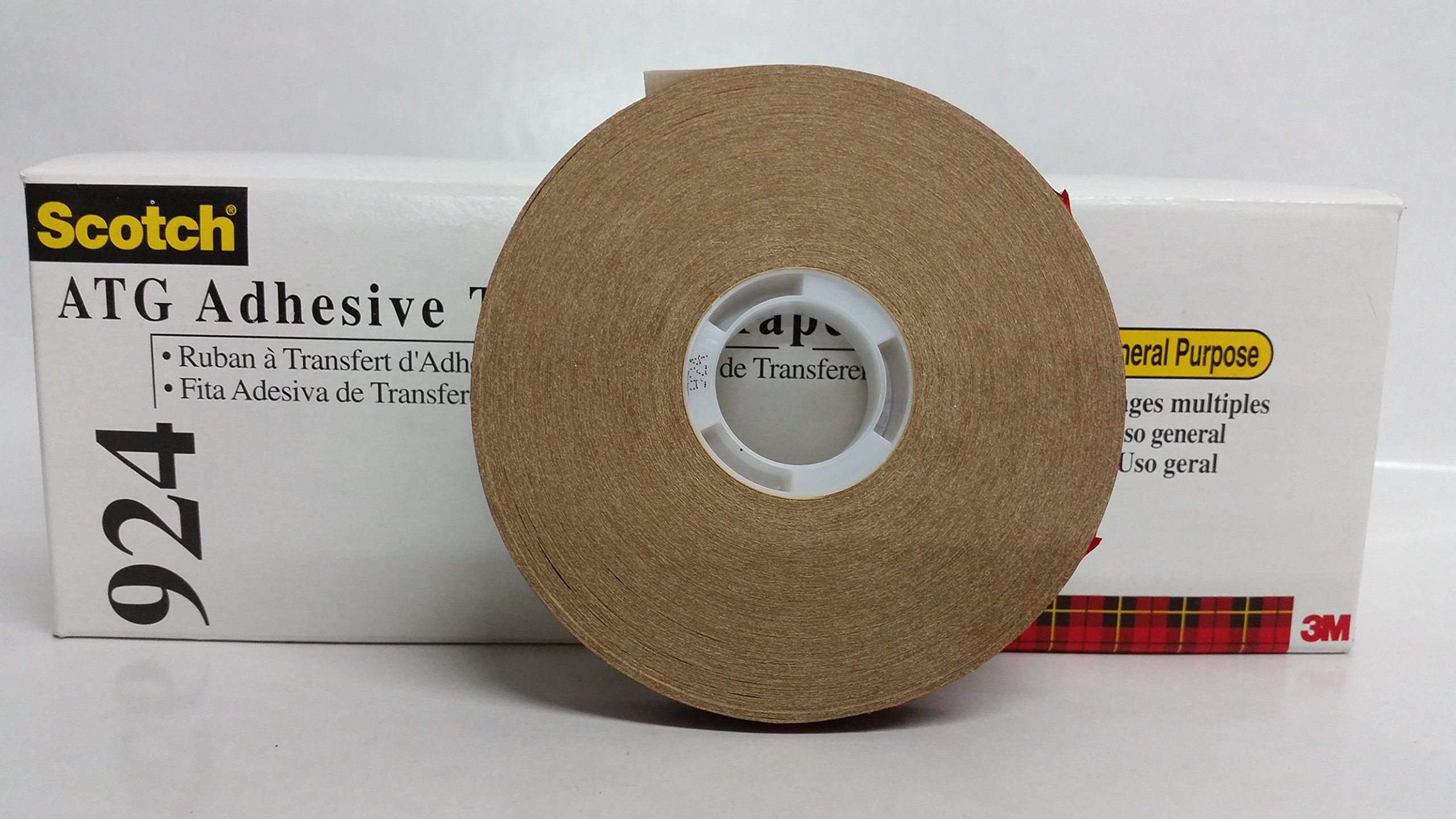 3M (924-1/2''x60yd) ATG Adhesive Transfer Tape 924 Clear, 0.50 in x 60 yd 2.0 mil [You are purchasing the Min order quantity which is 72 Rolls]