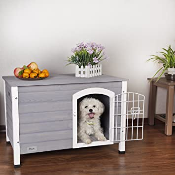 Petsfit casa de perro de interior con puerta de hierro, refugio de madera para perros