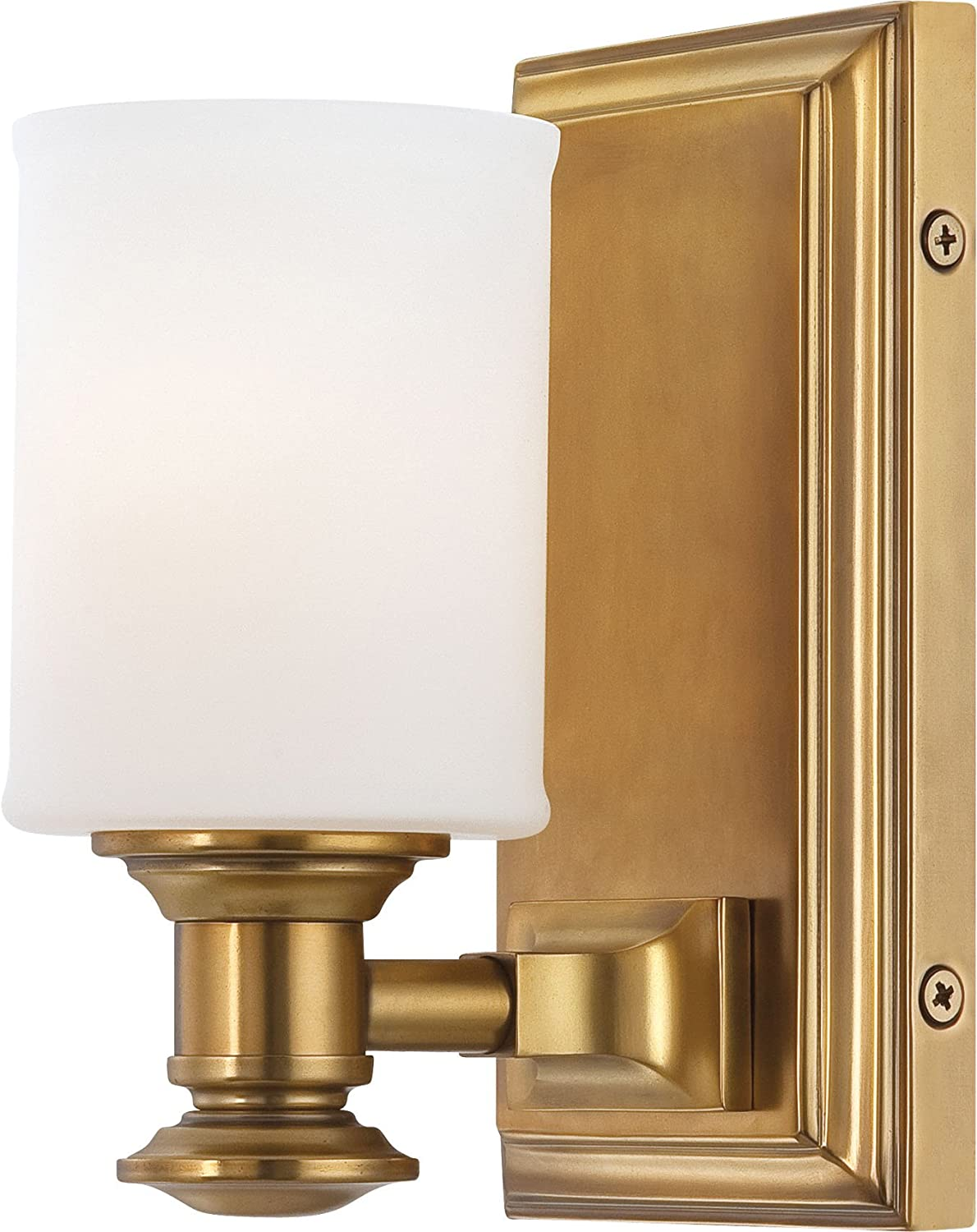 Minka Lavery Wall Light Fixtures Harbour Point 5171-249 Glass Reversible 100w 8 H x 4 W Vanity Light in Brass