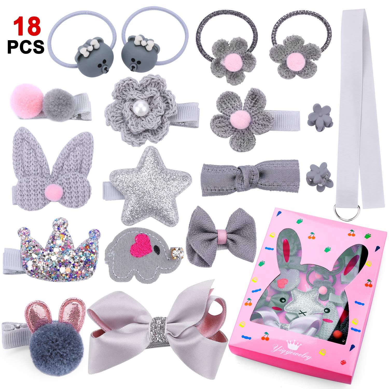 9d4212f296 18 pz clip per bambine, Phogary Gary argento fiocco capelli, mollette per  capelli, set di accessori per ragazzi e ragazze neonati Toddlers – regali  scatola