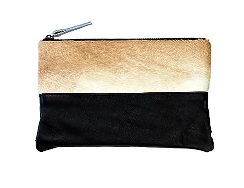 Maquillaje bolsa de embrague Monedero tipo cartera teléfono móvil diseñado con pelo de zorro hecho a mano auténtica piel de vacuno: Amazon.es: Zapatos y ...
