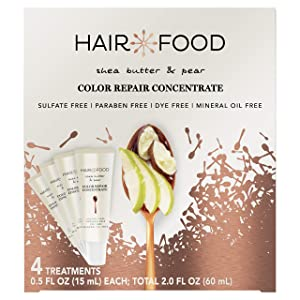 Hair Food Color Repair Concentrate, Repair Damage and Prevent Fade, Shea Butter and Pear, Paraben & Dye Free, Pack of 4, 0.5 Oz Each