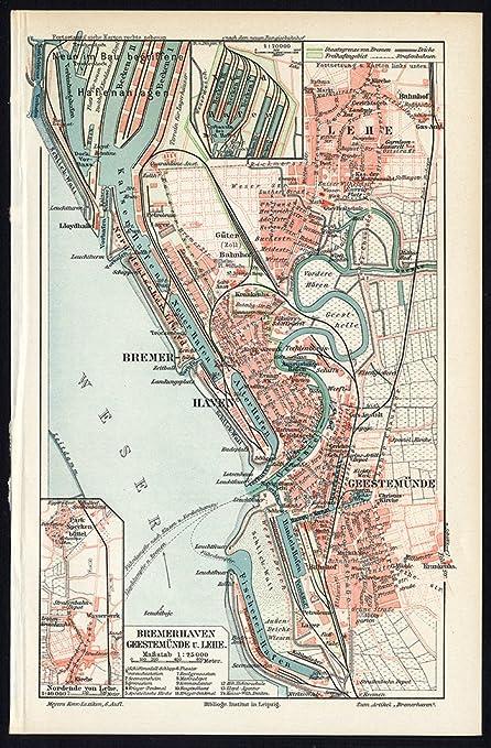 Amazon Com Antique Map Bremerhaven Geestemunde Germany Meyers 1902