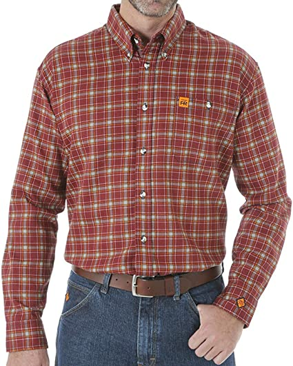 103625a6b083 Wrangler Men s Flame Resistant Long Sleeve Plaid Work Shirt Burgundy Medium