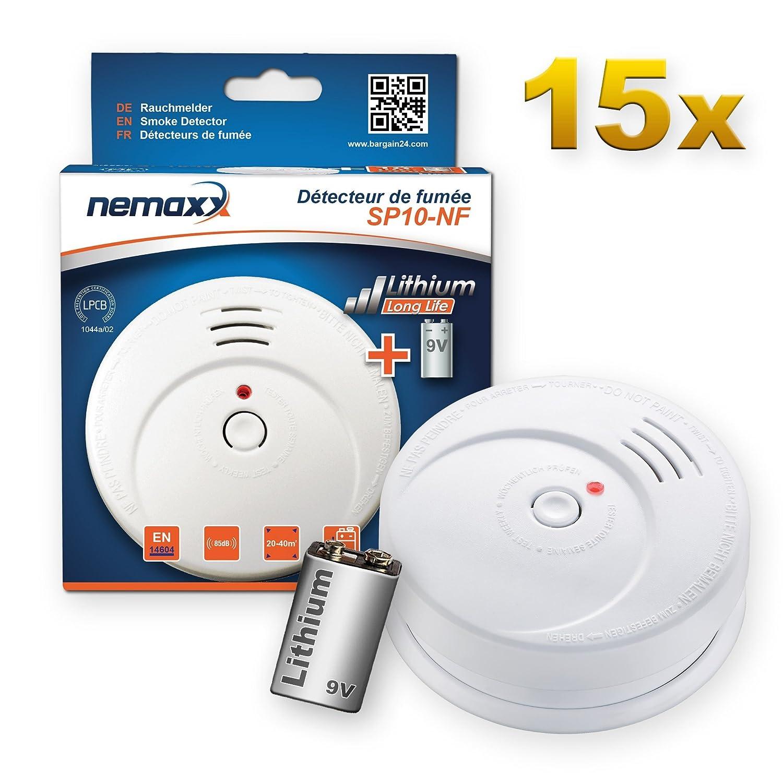15x Nemaxx SP10-NF Detector de Humo - Pila de Litio Larga duración de 9V - DIN EN 14604: Amazon.es: Bricolaje y herramientas