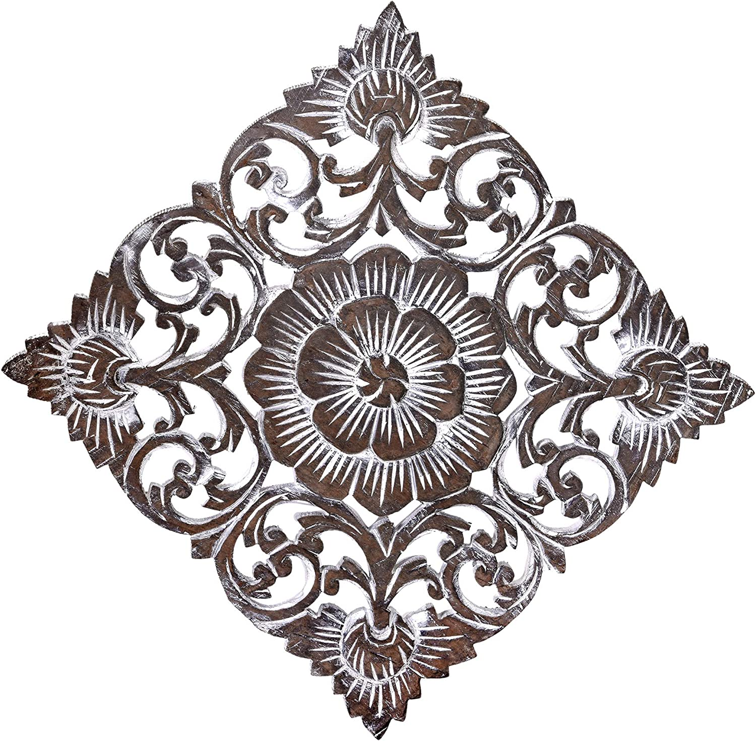 Tropical Magnolia Flower Two-Tone Hand Carved Teak Wood Wall Art 12 inches Brown-White