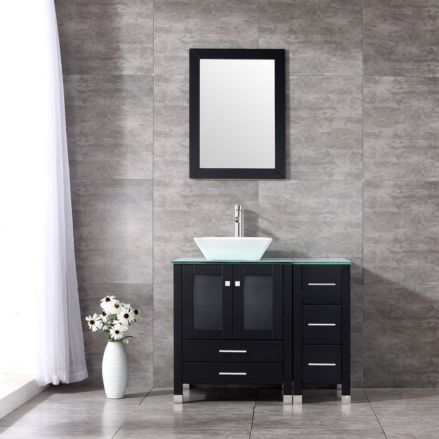 "BATHJOY 36"" Black Modern Wood Bathroom Vanity Cabinet White Square Ceramic Vessel Sink Top Free Faucet Drain Combo with Mirror by BATHJOY"