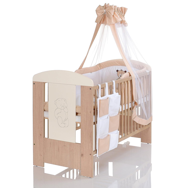 BÄR Beige Babyzimmer Möbel Komplettset Mit Kinderbett 120x60 Wickelkommode  9 Teiligen Bettwäsche Set Creme Weiss LCP ...