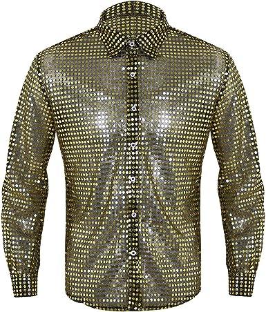 MSemis Camisas Brillantes de Baile Latino para Hombres Camisa de Danza Moderna Chicos Disfraz Estilo 80s Partido Traje Baile de Salón Talla M-XL: Amazon.es: Ropa y accesorios