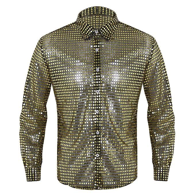 MSemis Camisas Brillantes de Baile Latino para Hombres ...