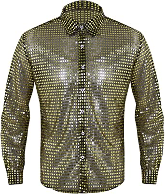 YiZYiF Camisa Baile Latino Danza Jazz para Hombres Camiseta Transparente con Lentejuslas Mangas Largas Disfraz Disco 70s 80s Traje Pole Dance Dorado Large: Amazon.es: Ropa y accesorios