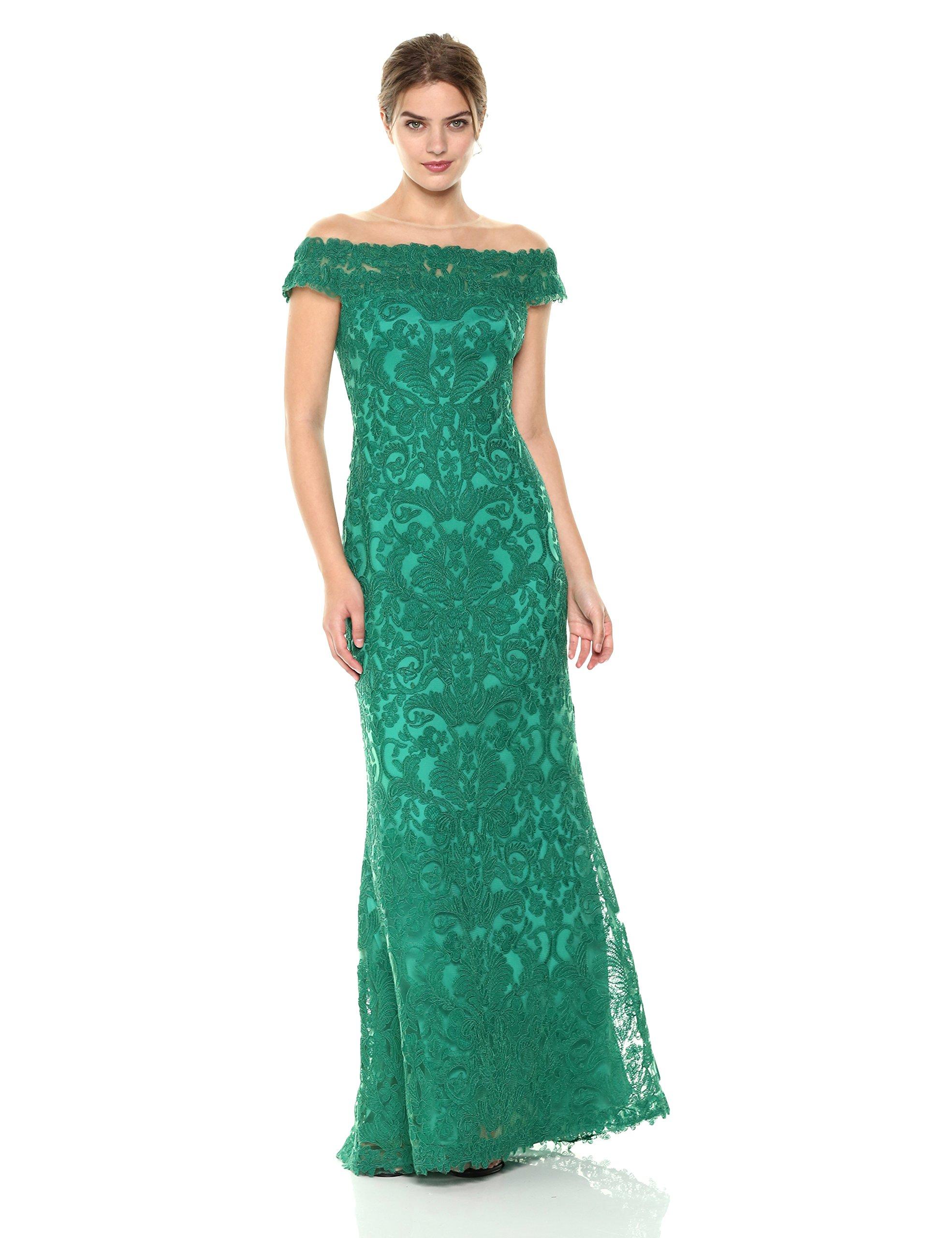 Tadashi Shoji Women's Illusion Neck Lace Gown, Deep Emerald, 4