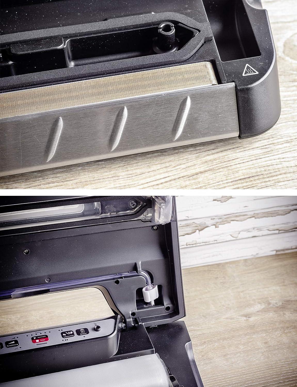 schwarz//silber Einhand-Bedienung f/ür Folien bis 30 cm Breite 110 ROMMELSBACHER VAC 285 Vakuumierge/ät