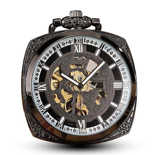 GORBEN Reloj de Bolsillo Cuadrado mecánico para Hombre Retro Skeleton Steampunk Mano Winding Fob. Reloj con Cadena: Amazon.es: Relojes