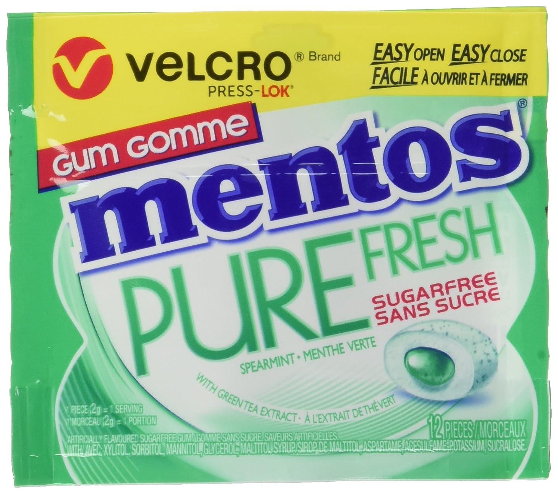 Mentos gum Pure Fresh Velcro Pack, Spearmint, 24g, Pack of 10 Perfetti van Melle
