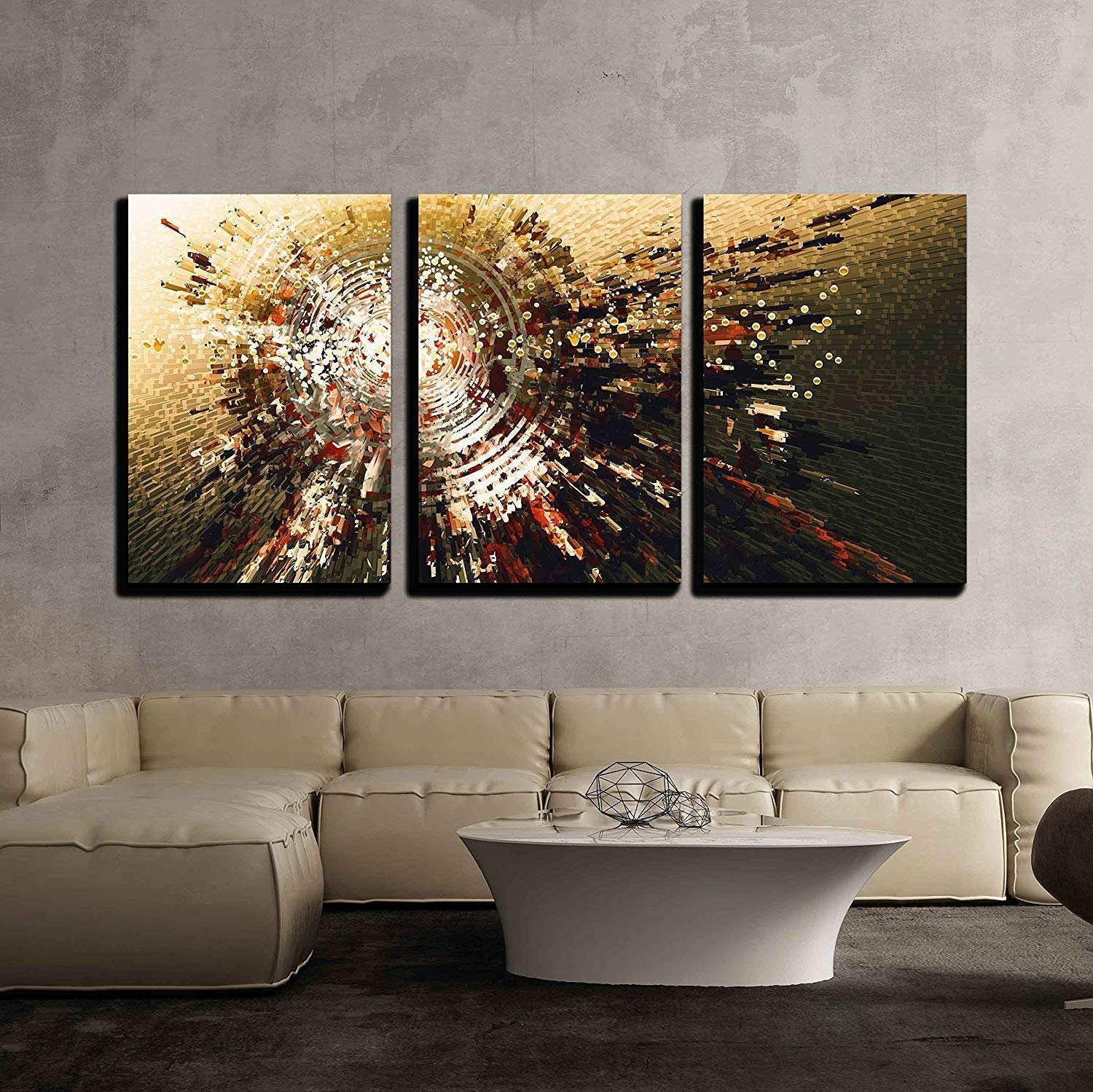 wall26 - 3 Piece Canvas Wall Art - Digital Painting of Abstract High Technology Circle Background - Modern Home Decor Stretched and Framed Ready to Hang - 24''x36''x3 Panels by wall26