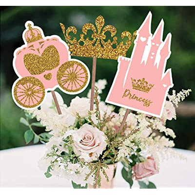 PARTY TARTY-Little Princess Crown -Pink and Gold Princess Centerpiece sticks for Girl Baby Shower or Birthday Party Decor-Table Topper Decorations Kit -Set of 15 Cardstock Pieces: Toys & Games