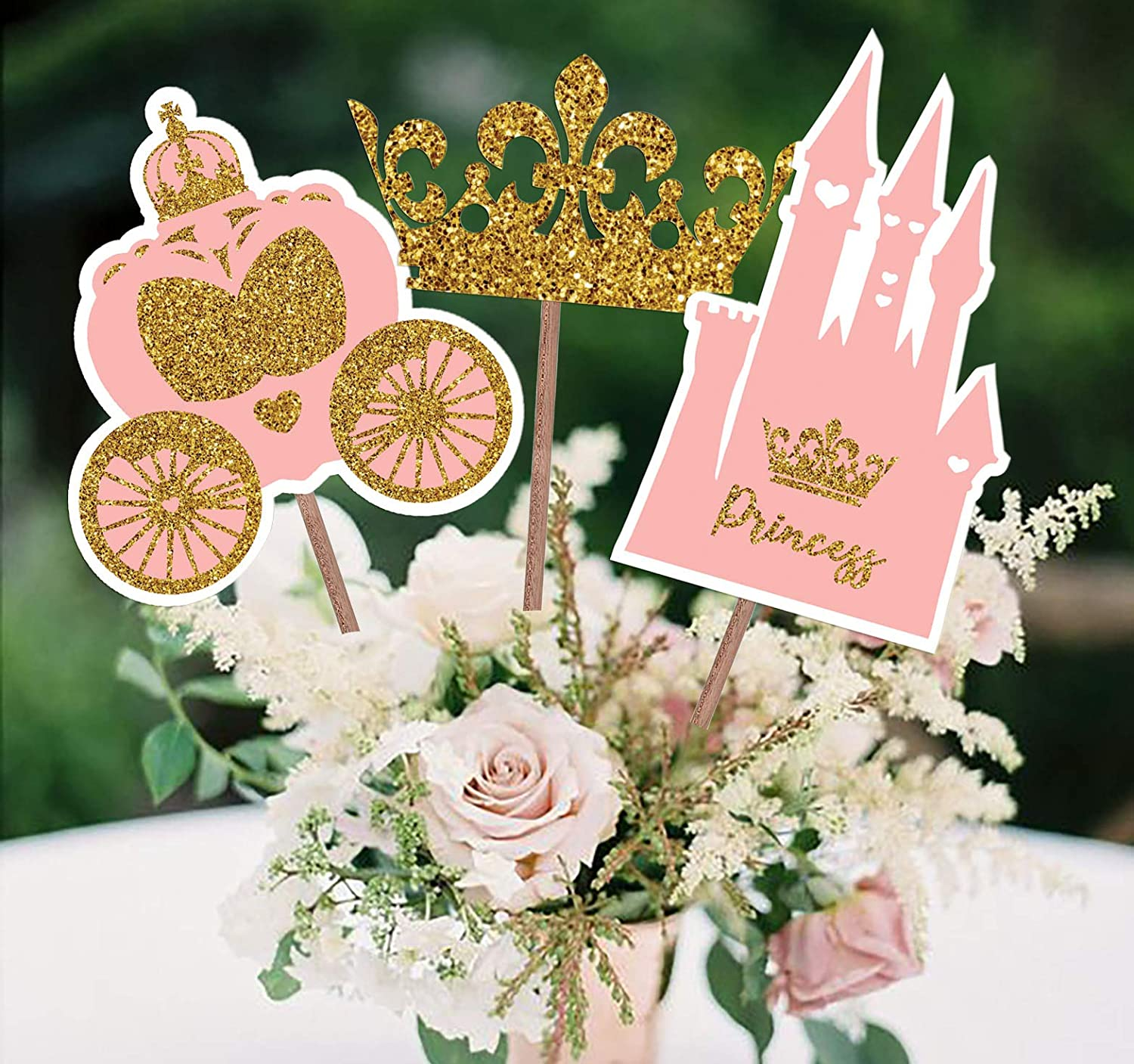 PARTY TARTY-Little Princess Crown -Pink and Gold Princess Centerpiece sticks for Girl Baby Shower or Birthday Party Decor-Table Topper Decorations Kit -Set of 15 Cardstock Pieces