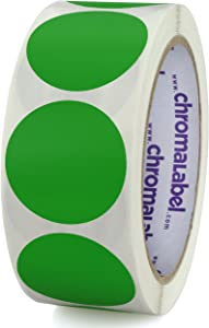 ChromaLabel 1-1/2 Inch Round Removable Color-Code Dot Stickers, Inventory Labels, 500/Roll, Green