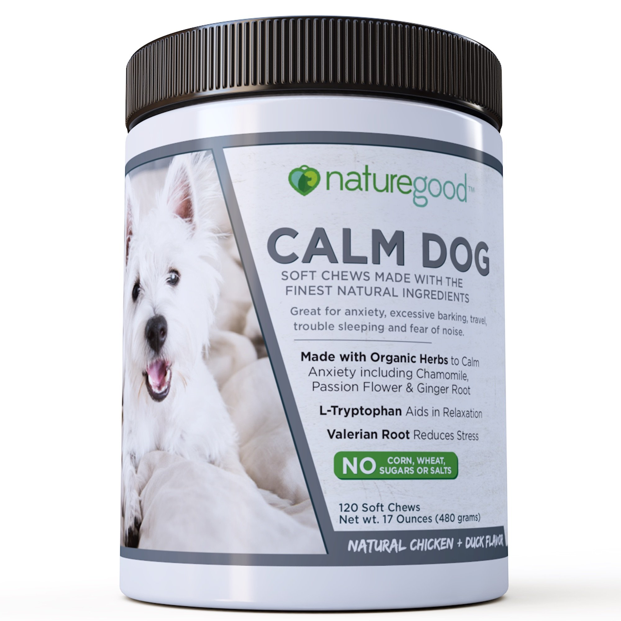 Premium Anxiety Calming + Stress Relief for Dogs | Organic Herbs | Valerian Root + L Tryptophan | 4 Gram Soft Chews | Natural Chicken + Duck Flavor | 120 Count | Made in USA