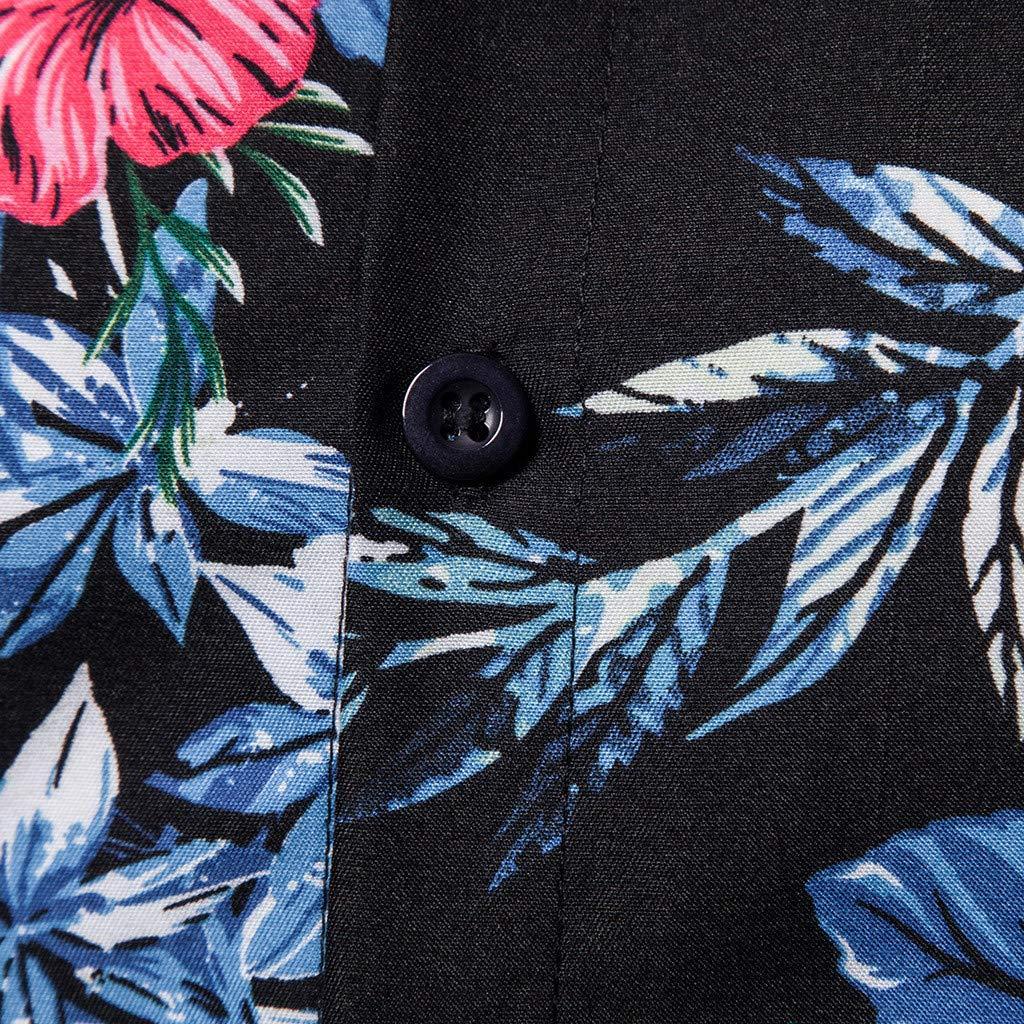 Fashion Mens Summer Casual Beach Button Printed Short Sleeve Tops Blouse Easytoy Men T Shirt