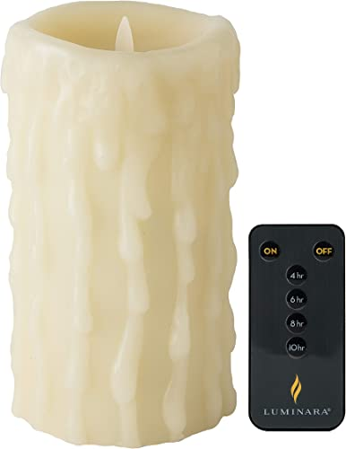 Luminara 7 Tall Heavy Wax Drip Candle Ivory Unscented with Remote Control