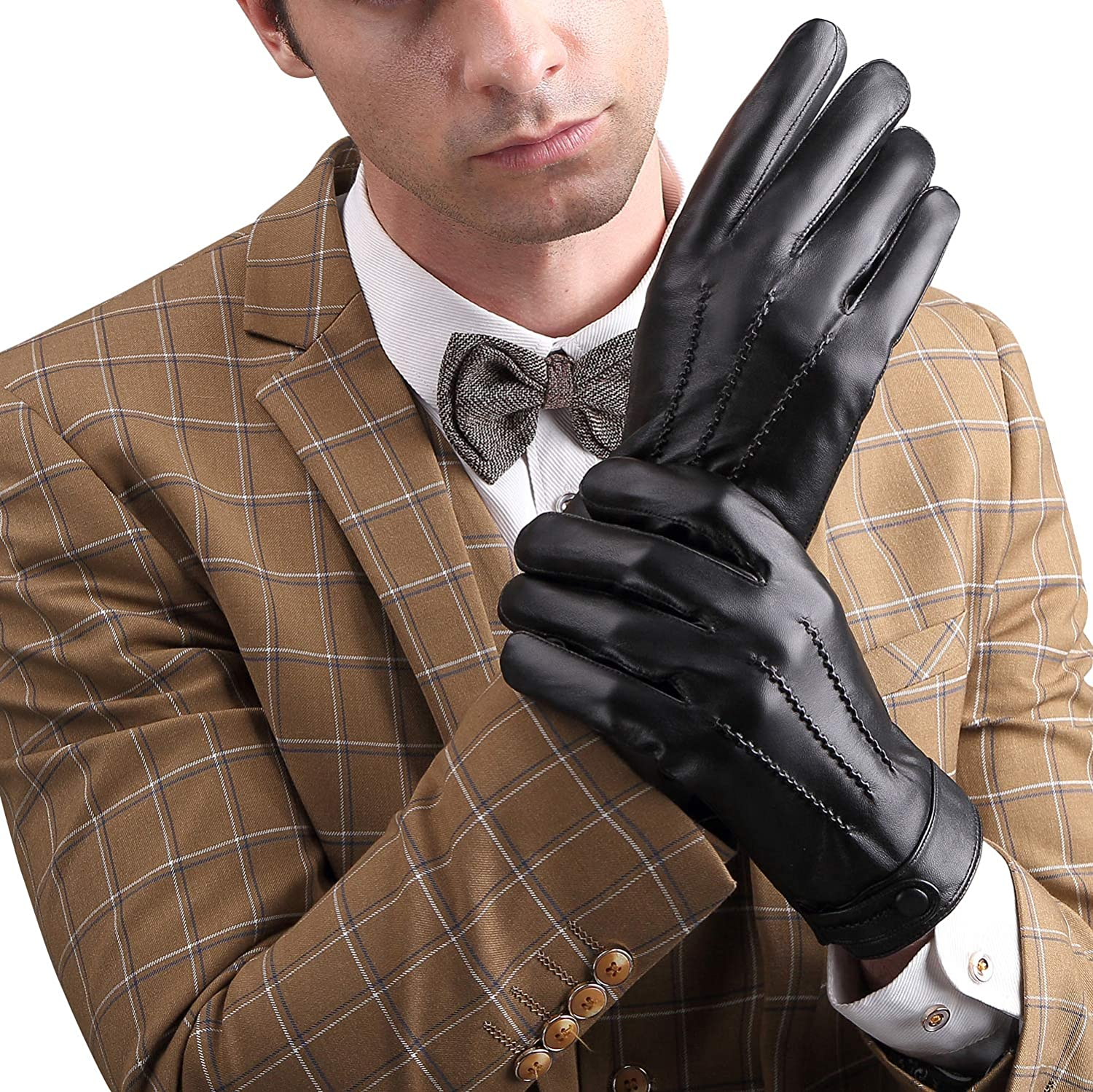 Mens Winter Gloves Touchscreen Genuine Leather Gloves Warm Dress Wool Lining Black Driving Gloves for Men