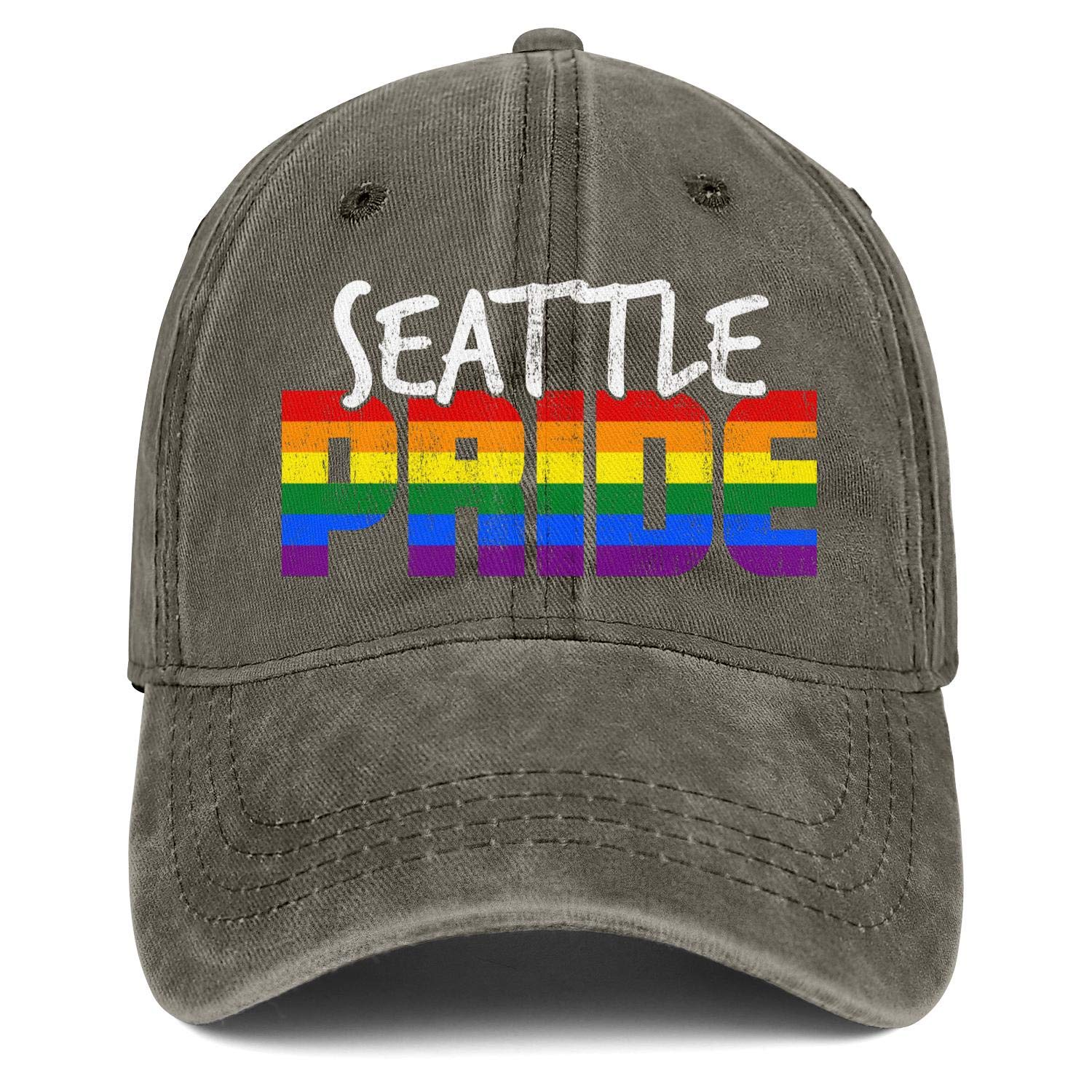 Basketball Caps for Women Seattle Gay Pride Parade Rainbow Adjustable Outdoor Classic Hat