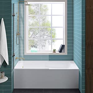 """Swiss Madison Well Made Forever SM-AB540 Voltaire Alcove Tub, 60"""" x 30"""", Glossy White"""
