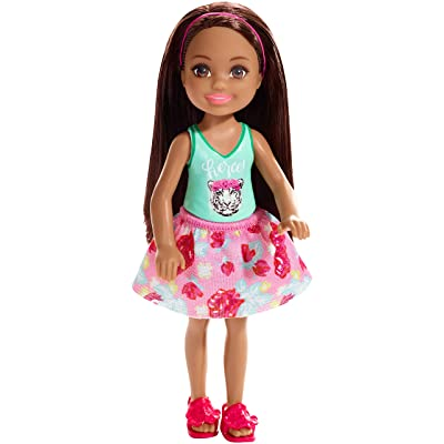 Barbie Club Chelsea Doll, 6-Inch Brunette Wearing Fierce Tiger Graphic and Removable Floral Skirt, for 3 to 7 Year Olds: Toys & Games