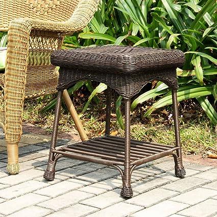 Amazon Com Jeco Wicker Patio End Table In Espresso Garden Outdoor