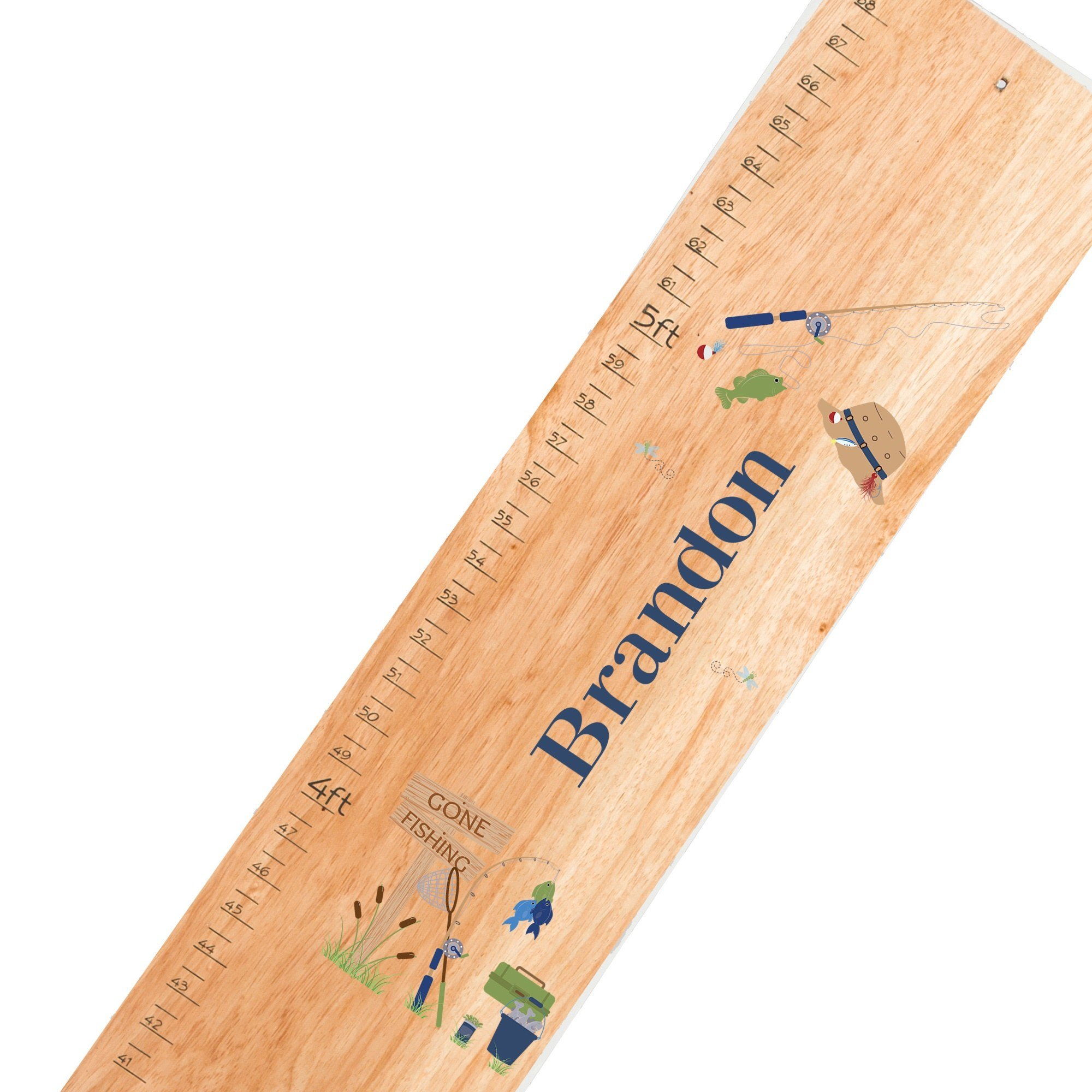 Personalized Gone Fishing Natural Growth Chart