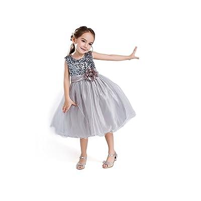 ELSA & ANNA® Princesa Disfraz Traje Parte Las Niñas Vestido de Fiesta de Boda Vestido de Navidad ES-GRY-PDS02: Ropa y accesorios