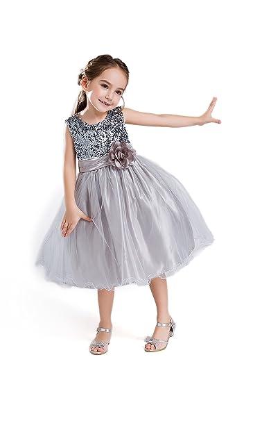 ELSA & ANNA® Princesa Disfraz Traje Parte Las Niñas Vestido de Fiesta de Boda Vestido de Navidad ES-GRY-PDS02