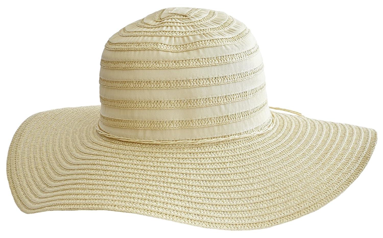 1954e39b0cfc6b Breitkrempiger Damen Hut Sonnenhut Strohhut mit Stoffstreifen und Blüte  (creme): Amazon.de: Bekleidung