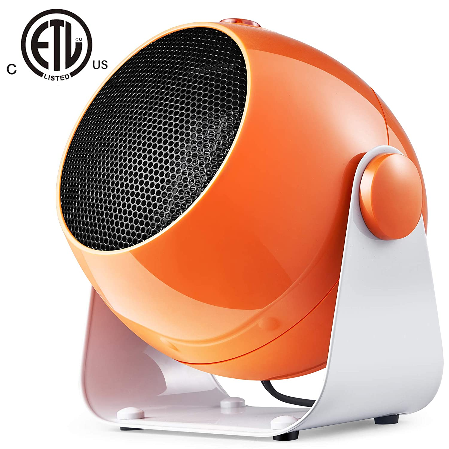 Bojing 1500W/900W Ceramic Portable Indoor Quiet Air Fan Space Heater with Thermostat, Personal Electric Tilt Head Heater for Home and Office