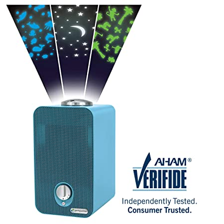 Germ Guardian AC4150BLCA 11 4-in-1 HEPA Filter Air Purifier for Home Kids Room, Small Rooms, Night Light Projector, UV-C, Filters Allergies, Dust, Dander, Odor, GermGuardian, Blue