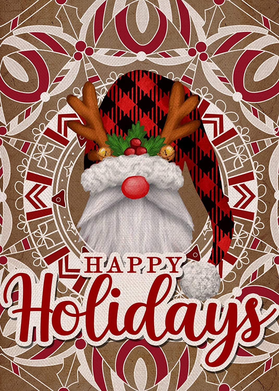 Furiaz Happy Holidays Garden Flag, Christmas Gnome Home Decorative House Yard Small Flag Xmas Buffalo Plaid Check Antlers Decor Double Sided, Winter Outdoor Decorations Seasonal Outside Flag 12 x 18
