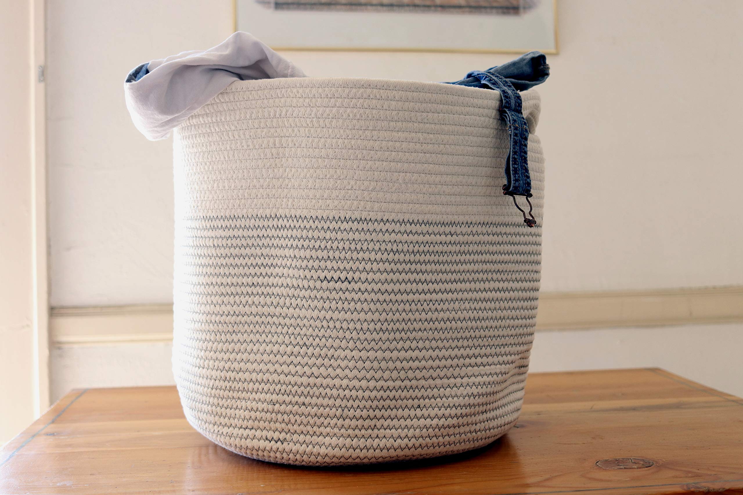 Esterias Large 100% Natural Woven Cotton Rope Basket with Handles 17 x 14.7 | for Laundry, Nursery, Storage