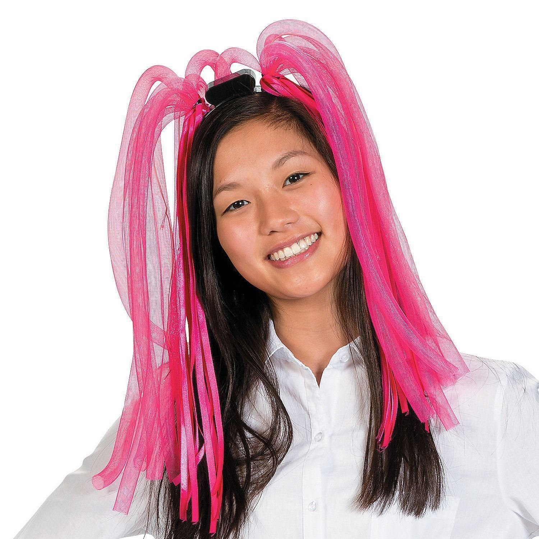 Childs Pink Glow Spaghetti Head Neon Light Up Hair Fancy Dress