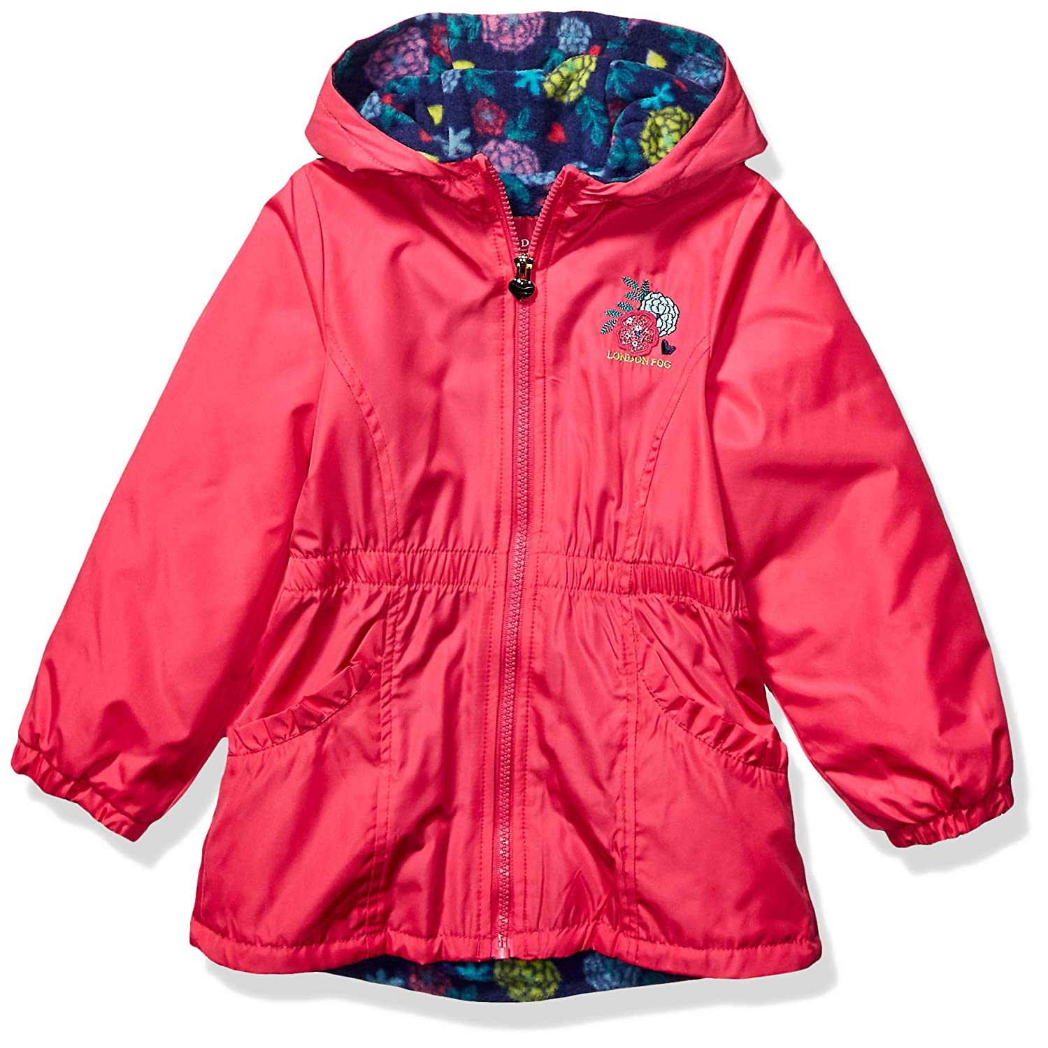 London Fog Girls Little Fleece Lined Midweight Jacket with Rouched Waist
