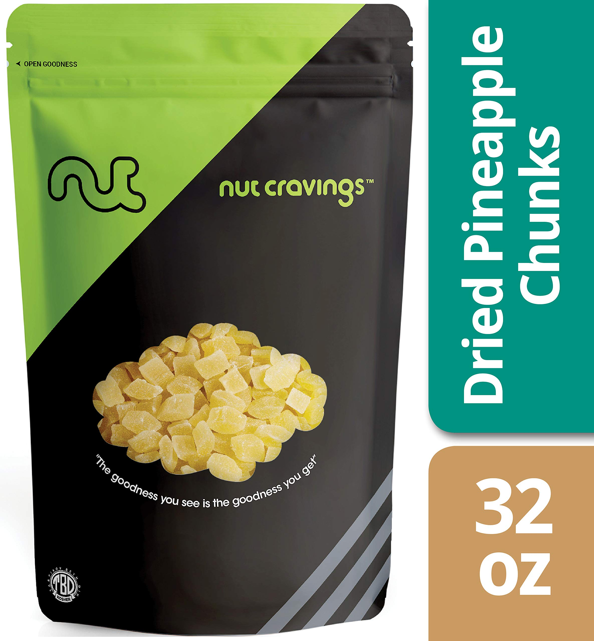 Nut Cravings Dried Pineapple Chunks (2 Pounds) - Sweet, Healthy Dehydrated Fruit Snacks with Sugar Added - 32 Ounce by Nut Cravings