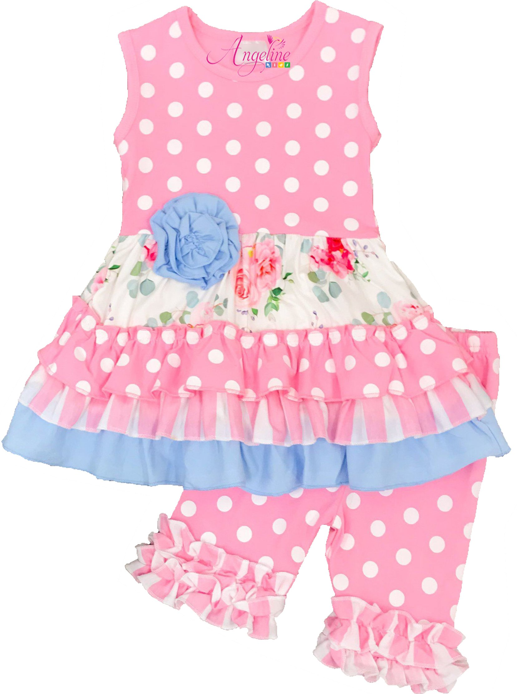 Boutique Clothing Girls Pretty in Pink Polka Dots Tiered Short Set 4T/L