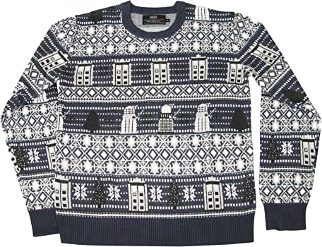 DOCTOR WHO Tardis and Daleks Christmas Sweater Official BBC Festive Jumper by LOVARZI
