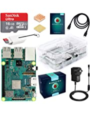 ABOX Raspberry Pi 3 B+ Complete Starter Kit with Model B Plus Motherboard 16GB Micro SD Card NOOBS, 5V 2.5A On/Off Power Supply, Premium Clear Case, HDMI Cable,SD Card Reader with USB A&USB C,Heatsink