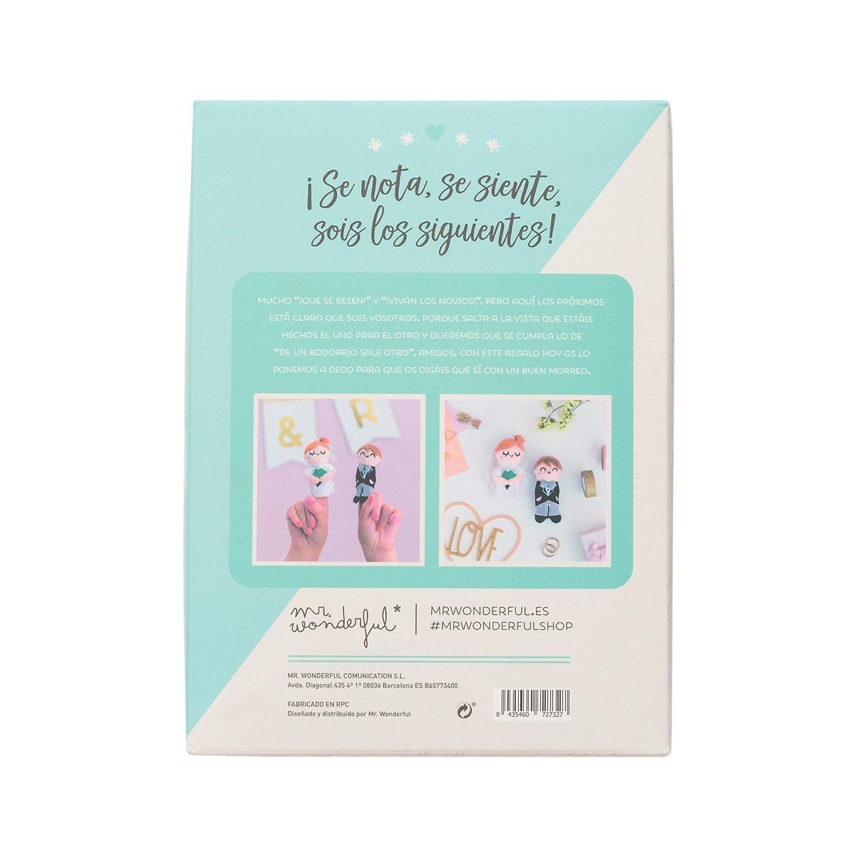 Mr. Wonderful Marionetas Novios ¡Se Nota, se Siente, sois los siguientes, Tela, Blanco, 0.1x0.1x0.1 cm: Amazon.es: Hogar