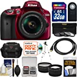 Nikon D3400 Digital SLR Camera & 18-55mm VR DX AF-P Zoom Lens (Red) with 32GB Card + Case + Tripod + Filters + Tele/Wide Lens Kit