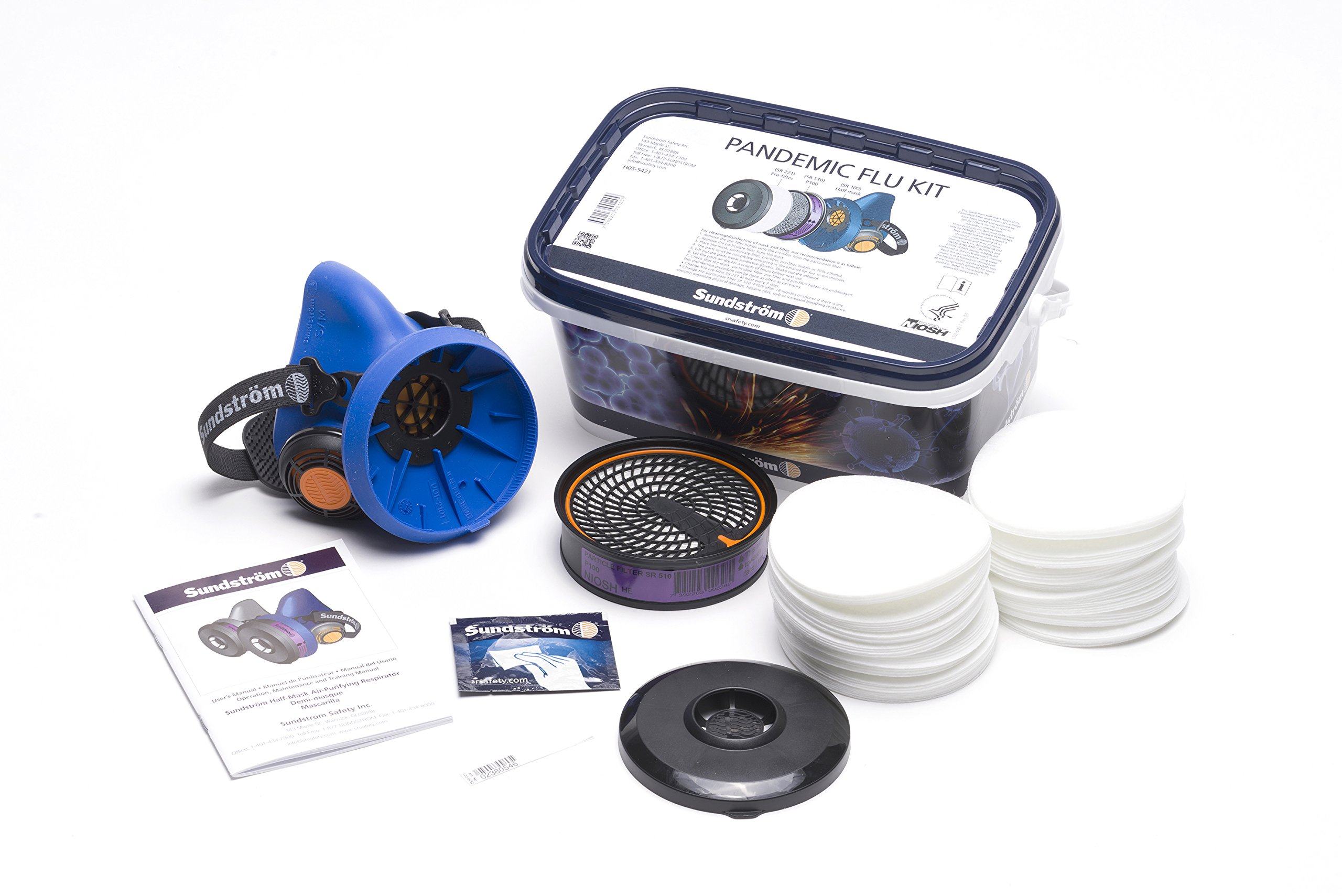 Sundstrom H05-5421S Pandemic Flu Respirator Kit with SR 100 S/M Silicone Half Mask, P100/HE Particulate Filter and Prefilters by Sundström (Image #3)